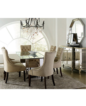 Sophia Mirrored Dining Room Furniture Collection with Tufted ...