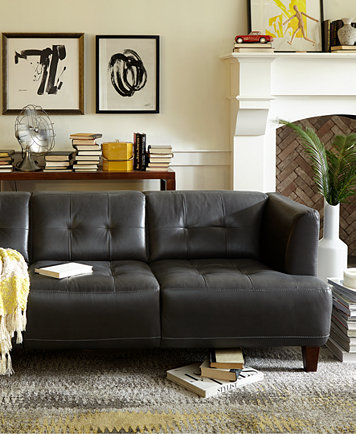 Alessia Leather Living Room Chair Created For Macys