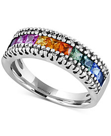 Watercolors by EFFY Multi-Sapphire (1-1/3 ct. t.w.) and Diamond (1/8 ct. t.w.) Band in 14k White Gold, Created for Macy's