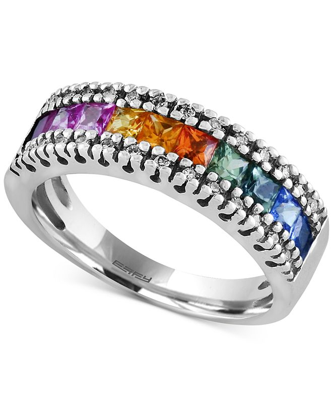 EFFY Collection Watercolors by EFFY® Multi-Sapphire (1-1/3 ct. t.w.) and Diamond (1/8 ct. t.w.) Band in 14k White Gold, Created for Macy's