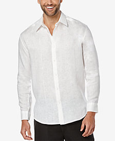 Cubavera Men's 100% Linen Perforated Long-Sleeve Shirt