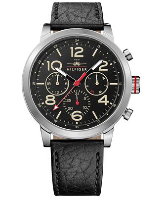 Tommy Hilfiger Men's Casual Sport Black Leather Strap Watch 46mm 1791232
