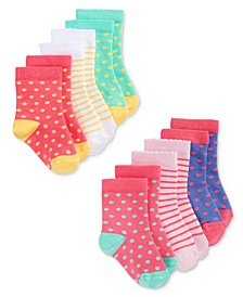 Baby Girls 6-Pack Print & Dot Crew Socks, Created for Macy's