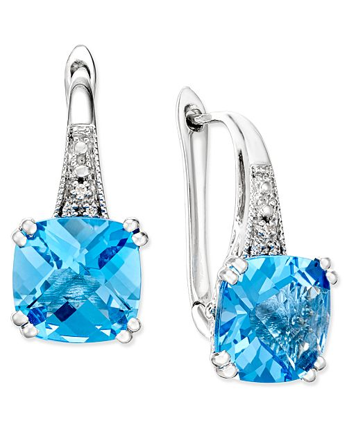Macy's Blue Topaz (5-1/3 ct. t.w.) and Diamond Accent Drop Earrings in 14k White Gold