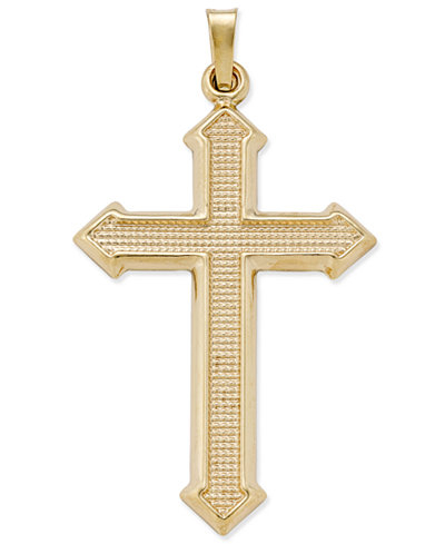 Decorative Textured Cross Pendant in 14k Gold