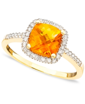 10k Gold Citrine (1-1/5 ct. t.w.) & Diamond (1/5 ct. t.w.) Ring