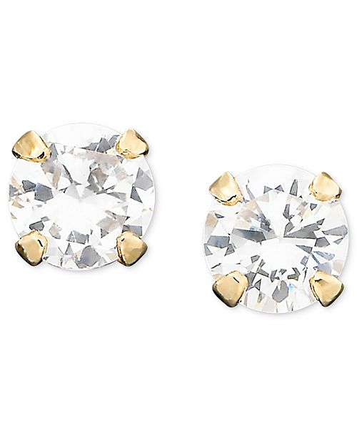 Macy s Children s 14k Gold Cubic Zirconia Stud - Earrings - Jewelry ... dff232e90e
