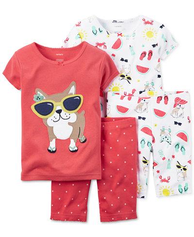 Carter S Toddler Girls 4 Piece Pug In Sunglasses Pajama
