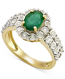Emerald (3/4 ct. t.w.) and Diamond (1/4 ct. t.w.) Ring in 14k Gold