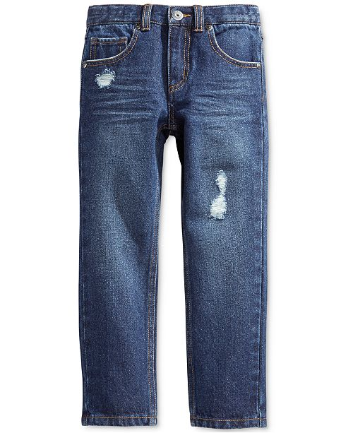 Epic Threads Slim Straight Rip & Repair Jeans, Little Boys, Created for Macy's