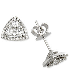 Diamond Triangle Stud Earrings (3/4 ct. t.w.) in 14k White Gold
