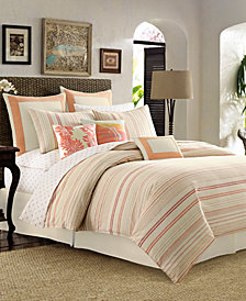 CLOSEOUT! Tommy Bahama Home La Scala Breezer Papaya Full/Queen Duvet Cover