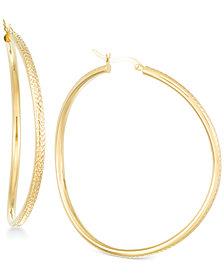 Wavy Round Hoop Earrings in 18k Vermeil Over Sterling Silver