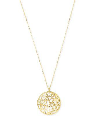 Hint of gold filigree disc 32 long length pendant necklace in 14k hint of gold filigree disc 32 mozeypictures Choice Image