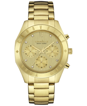 Caravelle New York by Bulova Women's Chronograph Gold-Tone Stainless Steel Bracelet Watch 36mm 44L213