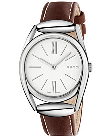 Gucci Women's Swiss Brown Leather Strap Watch 34mm YA140402