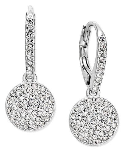 Danori Silver-Tone Pavé Dome Drop Earrings, Created for Macy's