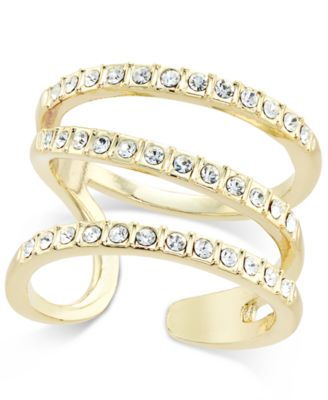 Image of INC International Concepts Gold-Tone Triple Band Pavé Statement Ring, Created for Macy's