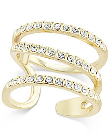 I.N.C. Gold-Tone Triple Band Pavé Statement Ring, Created for Macy's