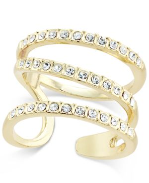 I.n.c. Gold-Tone Triple Band Pave Statement Ring, Created for Macy's