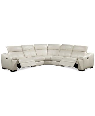 Kelsee 5 pc Leather Sectional Sofa with 2 Power Recliners with