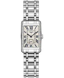 Longines Women's Swiss DolceVita Diamond (3/8 ct. t.w.) Stainless Steel Bracelet Watch 21x32mm L52550716