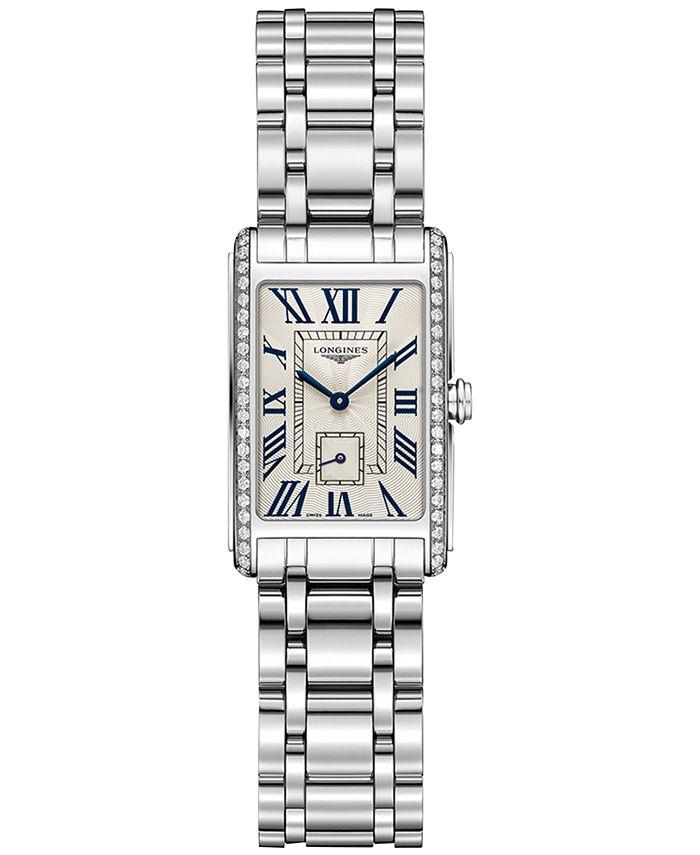 Longines - Women's Swiss DolceVita Diamond (3/8 ct. t.w.) Stainless Steel Bracelet Watch 21x32mm L52550716