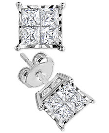 TruMiracle® Princess-Cut Diamond Stud Earrings (1 ct. t.w.) in 14k White Gold or 14k Gold