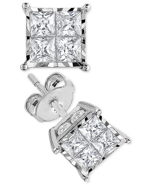 1a0797f67 TruMiracle Princess-Cut Diamond Stud Earrings (1 ct. t.w.) in 14k ...