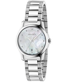 Gucci Women's Swiss G-Timeless Diamond Accent Stainless Steel Bracelet Watch 27mm YA126542