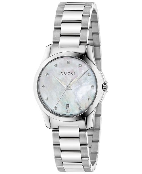72a472ce040 ... Gucci Women s Swiss G-Timeless Diamond Accent Stainless Steel Bracelet  Watch 27mm YA126542 ...