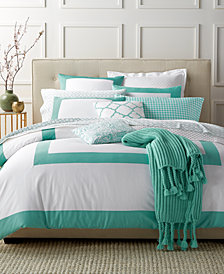 Charter Club Damask Designs Colorblock Teal 3 Piece Duvet Sets, Created for Macy's