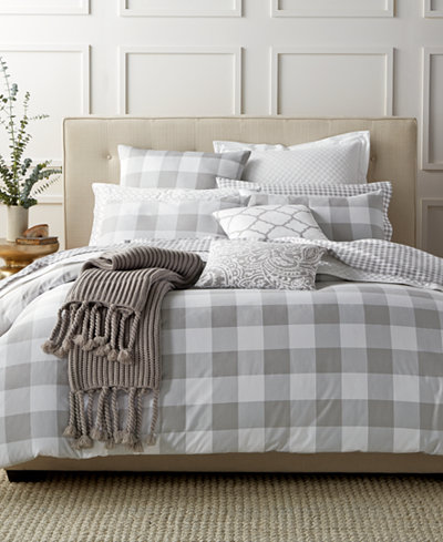 CLOSEOUT! Charter Club Damask Designs Gingham Dove Twin Duvet Set, Created for Macy's