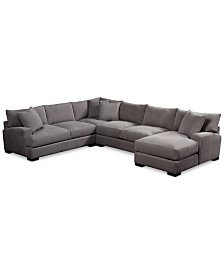 """Rhyder 4-Pc. 112"""" Fabric Sectional Sofa with Chaise, Created for Macy's"""