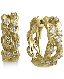 D'Oro by EFFY Diamond Hoop Earrings (3/8 ct. t.w.) in 14k Gold