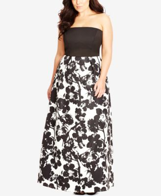 City Chic Plus Size Strapless Floral-Print Gown
