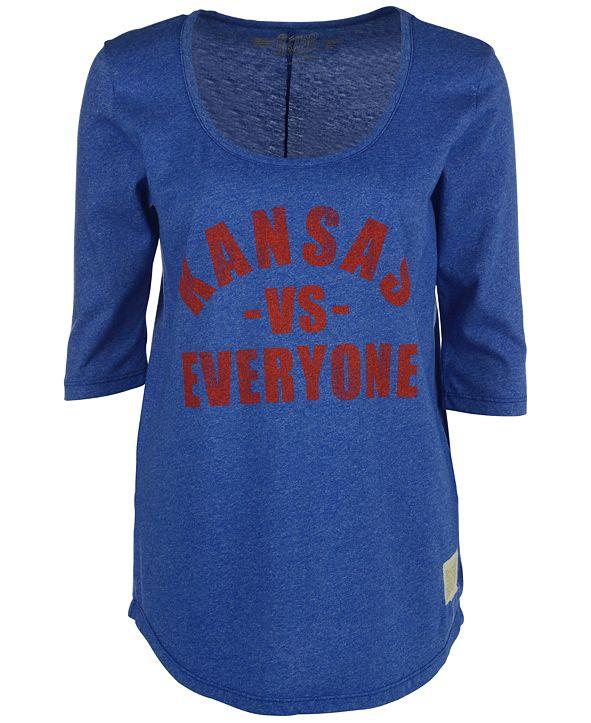 Retro Brand Women's Kansas Jayhawks Kat Vs Everyone Mock Twist T-Shirt
