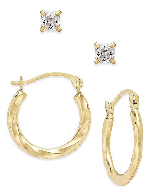 Macy's 2-Pc. Set Cubic Zirconia Studs and Twisted Hoop Earrings in 10k Gold