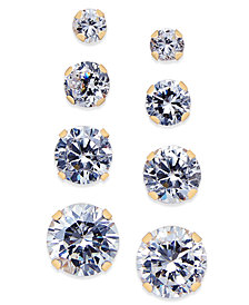 Cubic Zirconia 4-Pc. Set Stud Earrings in 10k Gold