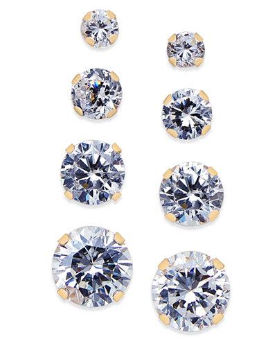 Cubic Zirconia 4-Pc. Set Stud Earrings in 10k Gold
