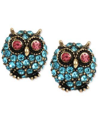 7.5cm Drop Bronze Tone /'Owl/' Hoop Earrings