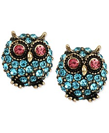 Gold-Tone Blue Pavé Owl Stud Earrings