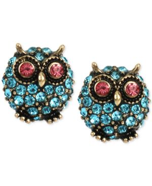 GOLD-TONE BLUE PAVE OWL STUD EARRINGS