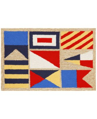 Liora Manne Front Porch Indoor/Outdoor Signal Flags Natural 2' x 3' Area Rug