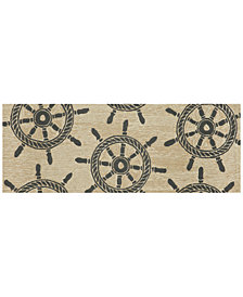 Liora Manne Front Porch Indoor/Outdoor Ship Wheel Black 2'3'' x 6' Runner Area Rug