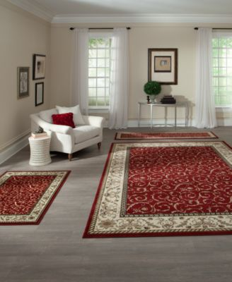 km home roma 3pc set damask red rug set - Rug Sets
