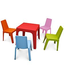 Julieta Kids Indoor/Outdoor Table & 4 Chairs Set, Quick Ship