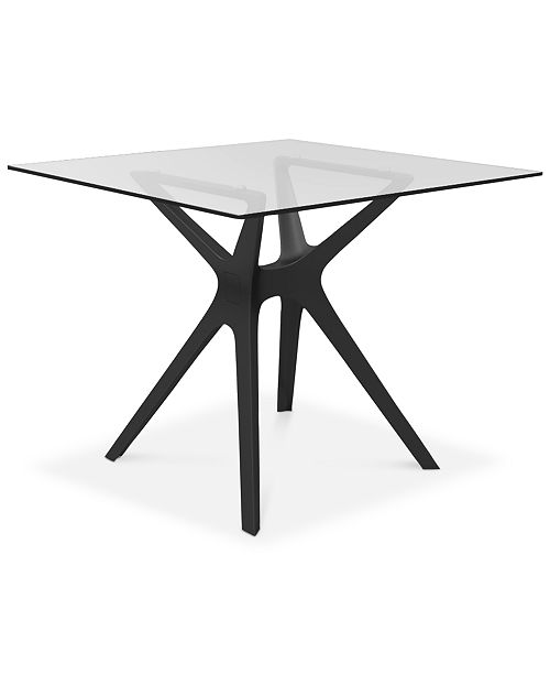 Furniture Vela Indoor/Outdoor Table with Tempered Glass, Quick Ship