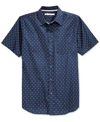 Univibe Men's Diamond-Pattern Short-Sleeve Shirt - Casual Button ...