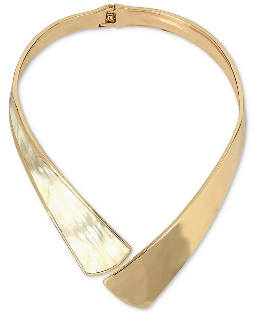 Robert Lee Morris Soho Necklace Gold-Tone Corn Hinged Collar Necklace